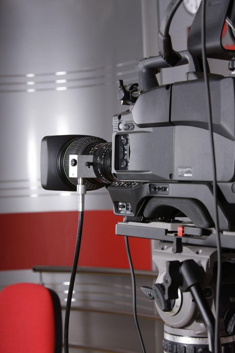 3797918 - close up of studio video camera in news television studio